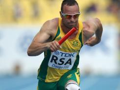 Double-amputee Oscar Pistorius led off a South African 4x400 relay record of 2 minutes, 59.21 seconds that earned the team a berth in the IAAF World Championship final on Monday.