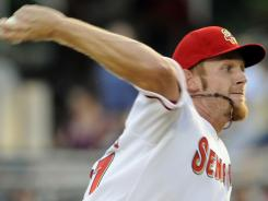 Washington pitcher Stephen Strasburg had a fastball that hit 99 mph in his final rehab start before rejoining the Nationals.