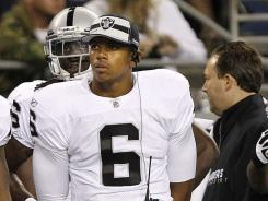 Quarterback Terrelle Pryor (6) did not play Friday night in the Raiders' preseason finale. Pryor will not be able to practice with or play for the team until October.