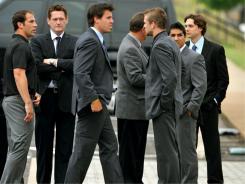 Nashville Predators players and staff attend the memorial service for former Predators player Wade Belak.