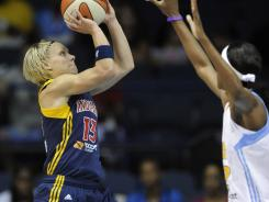 Erin Phillips, left, scored 16 points to help the Fever maintain first place in the Eastern Conference.
