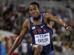 Christian Taylor competes in the men's triple jump final at the World Championships in Daegu, South Korea, on Sunday. Taylor won the gold medal in his trip to the world championships.