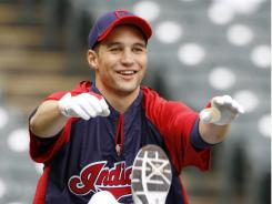 Indians' Grady Sizemore warms up for batting practice before the Tigers games.