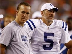 Injured Indianapolis Colts quarterback Peyton Manning, left, will be on the bench for the first time since the 20th century as Kerry Collins gets the start Sunday vs. the Houston Texans.