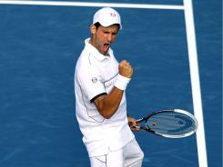 Novak Djokovic of Serbia runs his record in 2011 to 63-2 with a semifinal victory Saturday against Roger Federer at the U.S. Open.