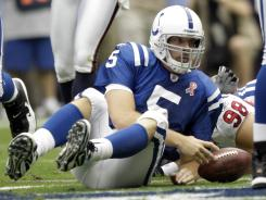 Indianapolis quarterback  Kerry Collins, filling in for the injured Peyton Manning, fumbled three times and lost two in a 34-7 defeat in Houston.