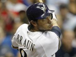 Ryan Braun's RBI single in the seventh inspired the Brewers to a 3-2 victory over the Phillies on Sunday. The win snapped a five game losing streak for Milwaukee.