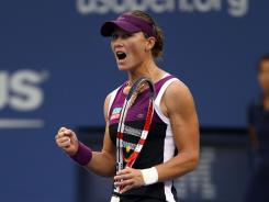 Sam Stosur of Australia celebrates a point during her victory against Serena Williams of the USA in the U.S. Open.