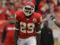 Kansas City Chiefs safety Eric Berry celebrates after intercepting a pass  during a game in 2010.