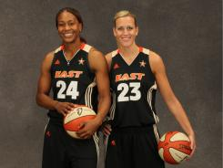 Fever teammates Tamika Catchings, left, and Katie Douglas were voted as starters for the 2011 WNBA All-Star Game in San Antonio.