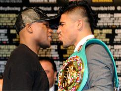 Floyd Mayweather Jr., left, is the heavy favorite to