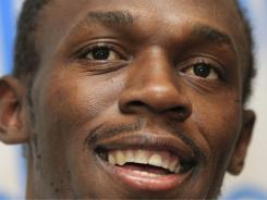 Jamaica's Usain Bolt addresses the media ahead of the Diamond League track and field event in Brussels,