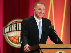 Chris Mullin speaks during the Basketball Hall of Fame Enshrinement Ceremony in Springfield, Mass., in August.