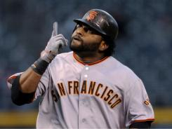 Pablo Sandoval tripled in the sixth inning to complete the first cycle of his career in the Giants' 8-5 win over the Rockies on Thursday night.