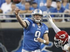 quarterback Matthew Stafford threw four touchdown passes in a victory against the Chiefs on Sunday in Detroit.