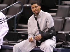 Rudy Gay, watching practice during the playoffs, has been cleared to resume full contact, and has already been shooting.