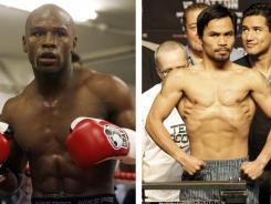 Floyd Mayweather Jr., left, continues to face questions about the man he has yet to fight,  Manny Pacquiao.