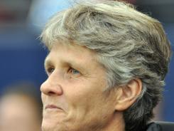 U.S. coach Pia Sundhage stands on the sideline before the game against Canada at Livestrong Sporting Park. The match ended in a 1-1 tie.