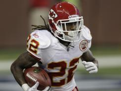 The Chiefs' Dexter McCluster, running Sunday vs. the Lions, has 30 carries for 164 yards and 30 catches for 232 yards in his career. He will help replace Jamaal Charles.