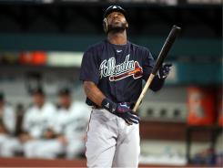 Jason Heyward, seen here striking out in the fifth inning, went 1-for-4 in the Braves' loss to the Marlins on Wednesday.  Heyward  had just one of the Braves' two hits in the loss.