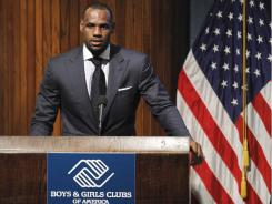 "The Miami Heat's LeBron James speaks about a PSA campaign for the Boys & Girls Clubs at an event in Washington on Wednesday. The two-time NBA MVP received the ""Champion of Youth"" award."