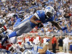 Detroit Lions running back Jahvid Best dives into the end zone for a touchdown  against the Kansas City Chiefs in Week 2.