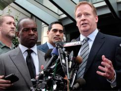 NFL Players Association chief DeMaurice Smith (left)  and NFL Commissioner Roger Goodell (right) are leading both sides in ironing out how the league will test for HGH, part of the new labor deal.