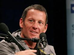 Lance Armstrong takes part in a discussion earlier this month about his organization during the Social Good Summit.