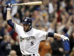 The Brewers' Ryan Braun reacts after hitting a three-run home run in the eighth inning against the Marlins, Friday at Miller Park in Milwaukee. The home run proved to be the game-winning hit as the Brewers won 4-1.