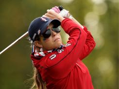 Paula Creamer of the USA tees off during the morning foursomes on Day 1 of the Solheim Cup.