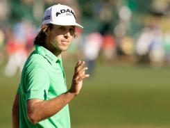 Aaron Baddeley waves to the crowd after finishing the third round of the Tour Championship at East Lake Golf Club in Atlanta. Baddeley is tied for the lead heading into Sunday's final round.