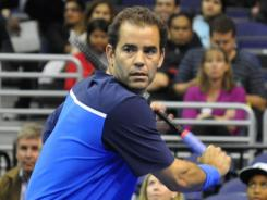 Pete Sampras showed flashes of his serve-and-volley style in a Champions Series Friday night in Washington.