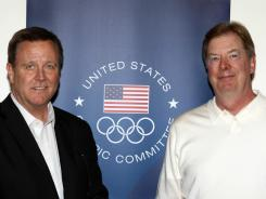 USOC CEO Scott Blackmun, left, and chairman Larry Probst, seen here at a board meeting in June, addressed the annual assembly on Friday.