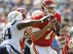 Kansas City Chiefs quarterback Matt Cassel is  sacked by San Diego Chargers linebacker Antwan Barnes in a loss on Sunday.