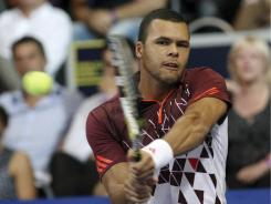 Jo Wilfried Tsonga of France lines up a backhand during his victory Sunday against Ivan Ljubicic of Croatia in the final of the ATP Open de Moselle.