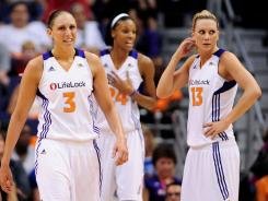 The Mercury's success this season included Diana Taurasi, left, winning another scoring tite, forward DeWanna Bonner, center, winning Sixth Man of the Year again, and a great all-around season from forward Penny Taylor.