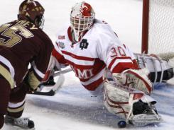 Miami (Ohio) Cody Reichard, making save in the 2010 Frozen Four, led the nation in goals-against average as a sophomore and was seventh, behind teammate Connor  Knapp, last season.