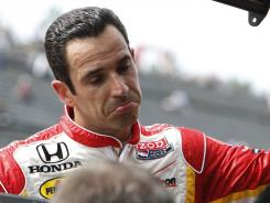 Helio Castroneves was dropped from seventh to 22nd place after he made an illegal pass under caution during the final lap the IndyCar race in Japan.
