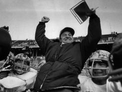 Former Moeller coach Steve Klonne celebrates after his team won the Ohio Division I football title in 1982. The Fighting Crusaders are 5-0 this season.
