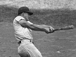 Roger Maris hits his record-breaking 61st  home run on the last day of the season on Oct. 1, 1961.