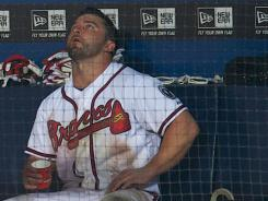 Second baseman Dan Uggla absorbs the 4-3 loss to the Phillies on Wednesday that eliminated the Braves from NL wild-card contention.