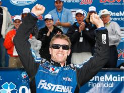 Carl Edwards celebrates his seventh Nationwide Series win of the year after dominating at Dover International Speedway.