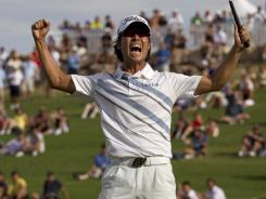 Kevin Na celebrates after winning the Justin Timberlake Shriners Hospitals for Children Open.