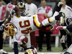 Washington Redskins running back Ryan Torain rushes during the third quarter of their game against the Rams.