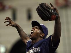 Nyjer Morgan plays to the fans as they defeat the Astros on Sept. 2.
