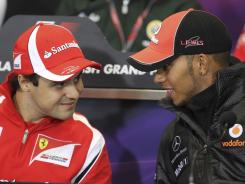 Lewis Hamilton, right, collided with Felipe Massa during their race in Singapore sparking heated words and ill will among the drivers.