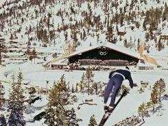 This file photo from Feb. 1, 1960 shows a ski jumper during the 1960 Winter Olympics at the Squaw Valley ski resort in California.