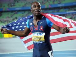 American LaShawn Merritt, seen here at the IAAF World Championships in South Korea last month, has been cleared to defend his 400-meter gold medal at the 2012 London Olympics.
