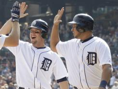 Don Kelly, left, has been key to the Tigers' lineup flexibility. He's played five positions and hit in seven spots.