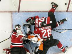Martin Broaduer had 26 saves for the Devils, but it wasn't enough to hold off the new-look Flyers.